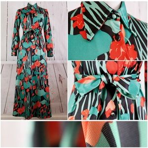 VTG 70s EMELIO BORGHESE Floral Belted Button Dress